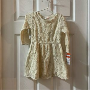 NWT Cat & Jack Cream/Metallic Sweater Dress 2T